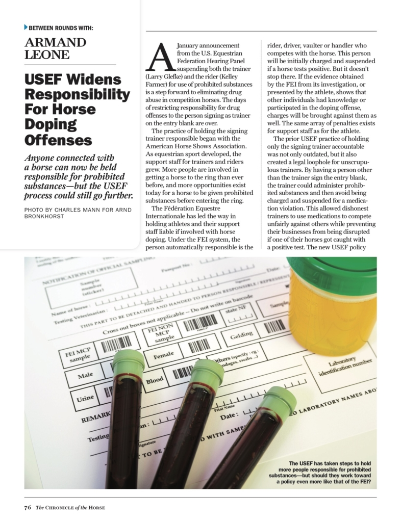 Usef Widens Responsibility For Horse Doping Offenses The